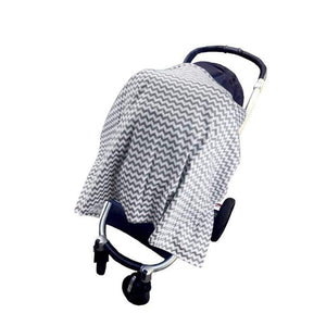 Grey Wave-Style Cotton Muslin Nursing Cover