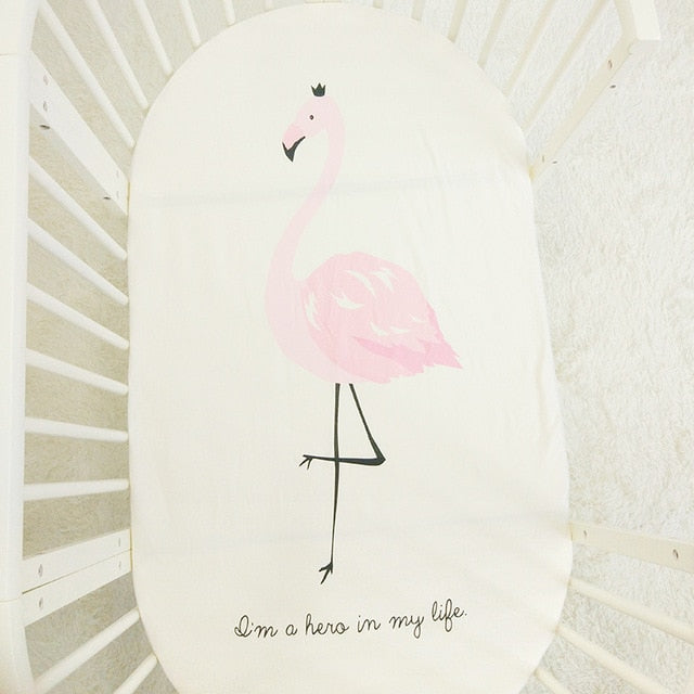 Flamingo Print Baby Crib Sheets