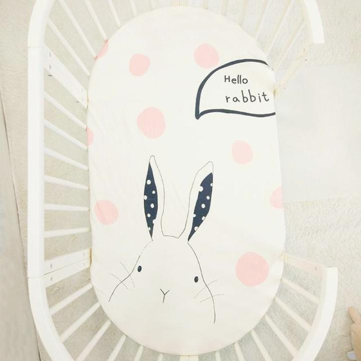 Hello Rabbit Print Baby Crib Sheets