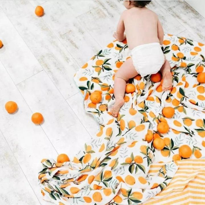 Orange Cotton Soft Baby Muslin Swaddle Blanket MaBabyPro