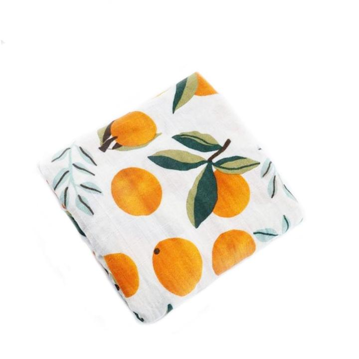 Orange Cotton Baby Muslin Swaddle