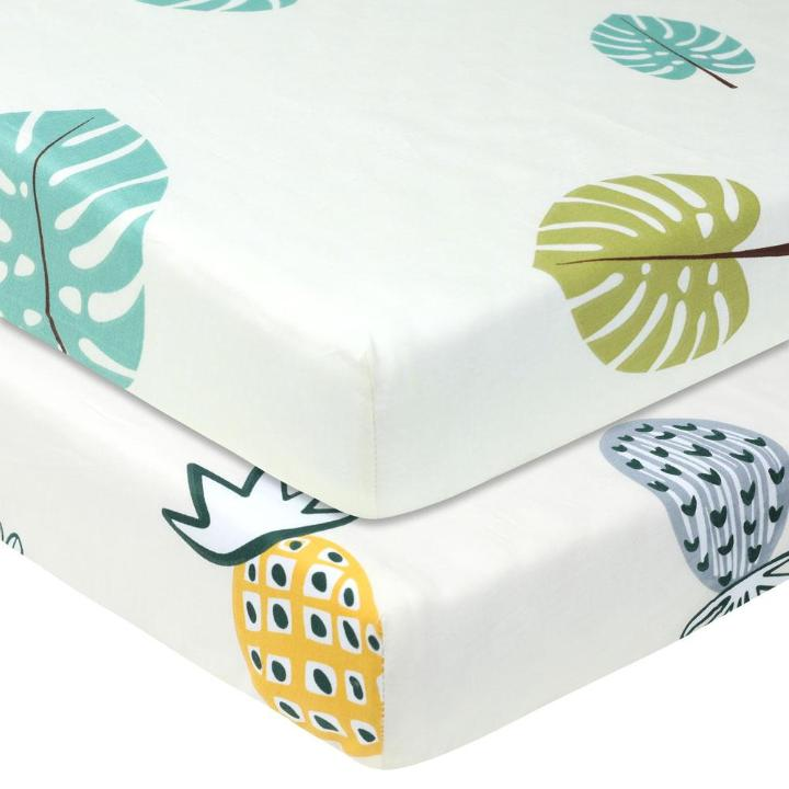 Monstera Pineapple Baby Crib Sheets MaBabyPro
