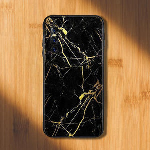 Vivo V15 Pro Gold Dust Texture Marble Glass Case