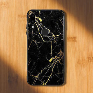 Vivo V9 Gold Dust Texture Marble Glass Case