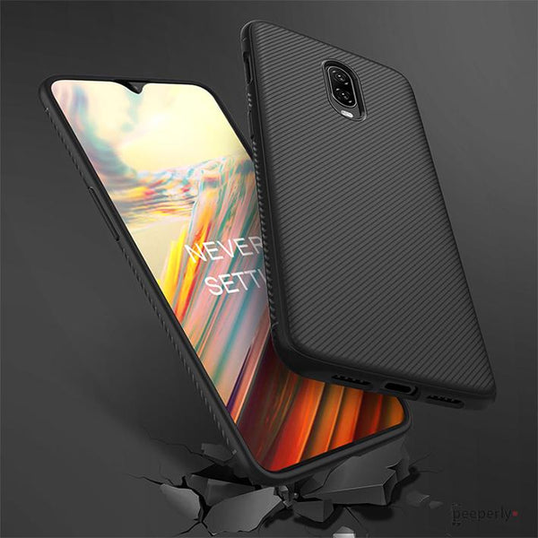OnePlus 6T Twill Design Shockproof TPU Case