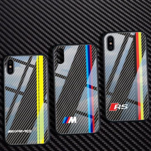 iPhone X 3D Carbon Fiber Pattern Glass Case