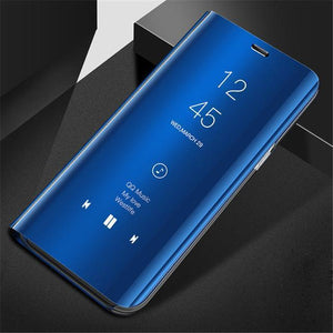 Vivo V9 (2 in 1 Combo) Mirror Clear Flip Case + Earphones