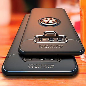 Galaxy Note 9 (3 in 1 Combo) Metallic Ring Case + Tempered Glass + Earphones