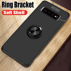 Galaxy S10 Plus  (3 in 1 Combo) Metallic Ring Case + Tempered Glass + Earphones
