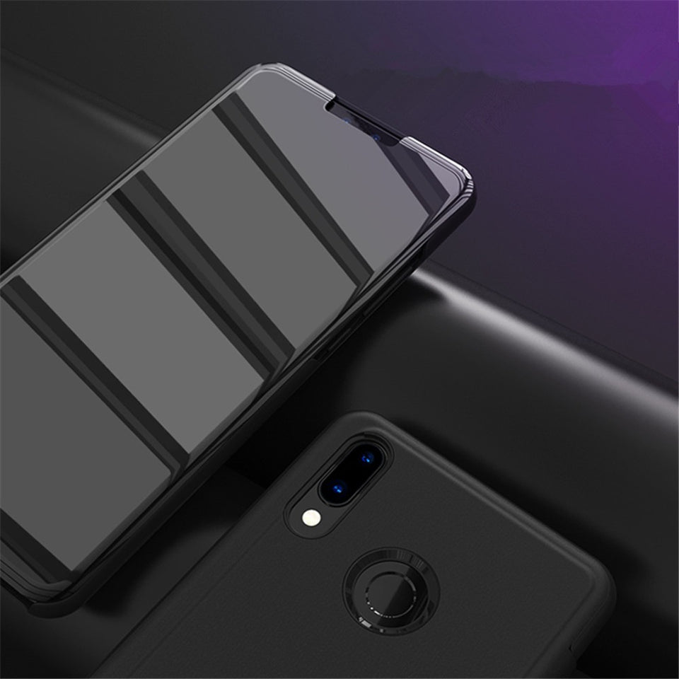 Huawei Honor Y9 (2019) Clear View Mirror Standing Flip Case [Non Sensor Working]