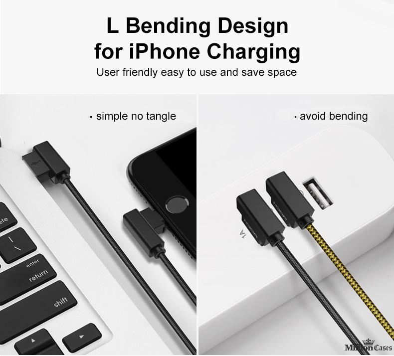 L Bend Nylon Braided USB Charging Cable