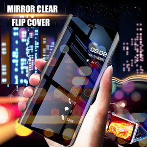 Redmi Note 10 Mirror Clear View Flip Case [Non Sensor Working]