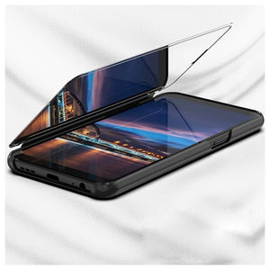 Redmi Note 8 Pro (3 in 1 Combo) Mirror Clear Flip Case + Tempered Glass + Earphones [Non Sensor]