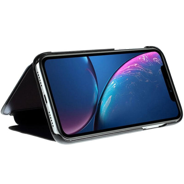 Galaxy A50 (3 in 1 Combo) Mirror Clear Flip Case + Tempered Glass + Earphones [Non Sensor]