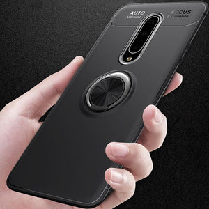 OnePlus 8 (3 in 1 Combo) Metallic Ring Holder Case + Tempered Glass + Earphones