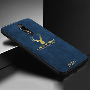 OnePlus 6 Luxury Gold Textured Deer Pattern Soft Case