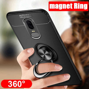 OnePlus 6 (3 in 1 Combo) Metallic Ring Case + Tempered Glass + Earphones