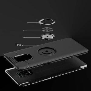 Redmi Note 9 Pro Max (3 in 1 Combo) Metallic Ring Case + Tempered Glass + Earphones