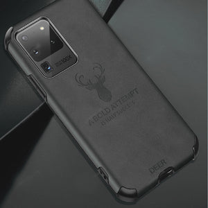 Galaxy S20 Ultra Shockproof Deer Leather Texture Case
