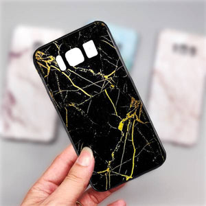 Galaxy S8 Plus Gold Dust Texture Marble Glass Case