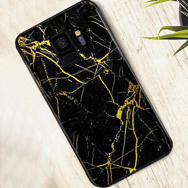 Galaxy S9 Gold Dust Texture Marble Glass Case