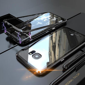 Galaxy S7 Edge Electronic Auto-Fit Tempered Glass Magnetic Case
