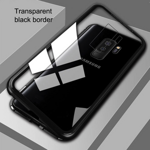 Galaxy J8 Electronic Auto-Fit Magnetic Transparent Glass Case