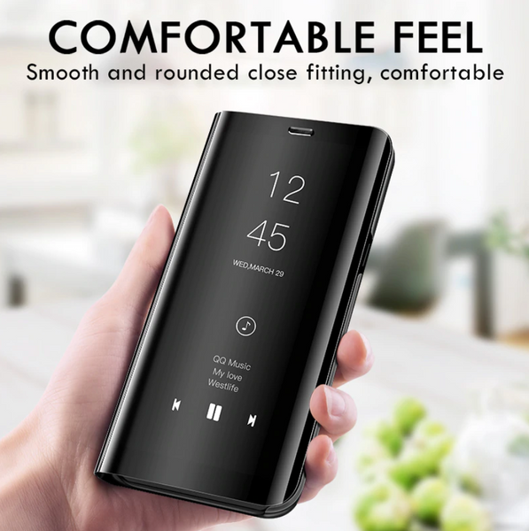 [3 in 1 Combo] Galaxy A71 Clear View Flip Case + Tempered Glass + Earphones