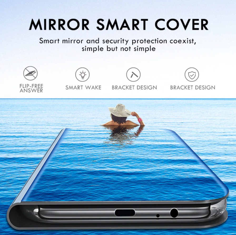 [3 in 1 Combo] Redmi Note 8 Clear View Flip Case + Tempered Glass + Earphones