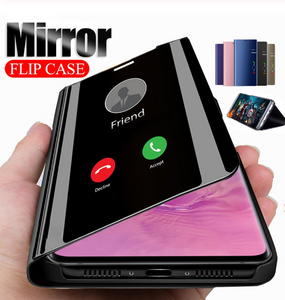 Galaxy M30s (3 in 1 Combo) Mirror Clear Flip Case + Tempered Glass + Earphones [Non Sensor]
