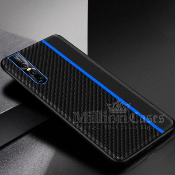 Vivo V15 Pro Frosted Carbon Fiber PU Leather Protective Case