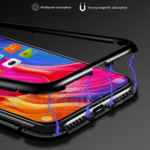 Vivo Y17  Magnetic Glass Case + Tempered Glass + Earphones