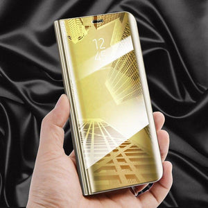 Galaxy J8 Mirror Clear View Flip Case [Non Sensor Working]