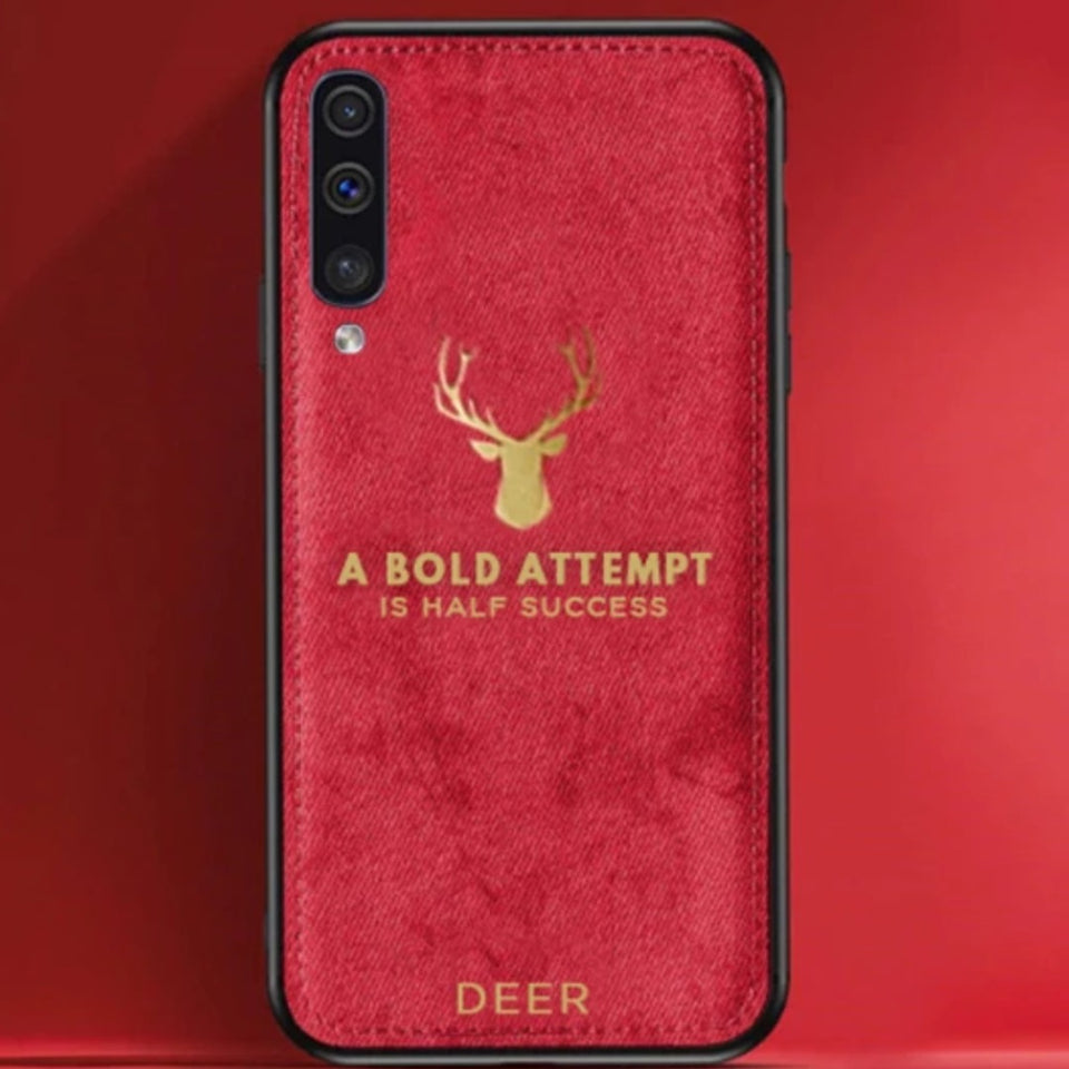 Galaxy A30s Luxury Gold Textured Deer Pattern Soft Case