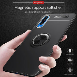 Galaxy A50s Metallic Finger Ring Holder Matte Case
