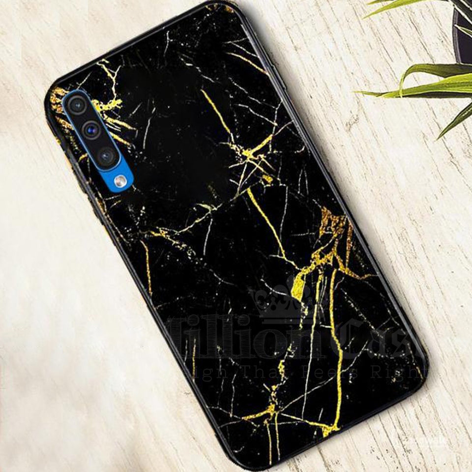 Galaxy A70 Gold Dust Texture Marble Glass Case