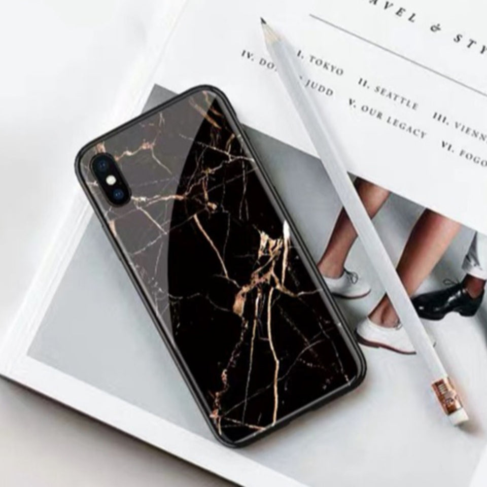 iPhone XR Gold Dust Texture Marble Glass Case