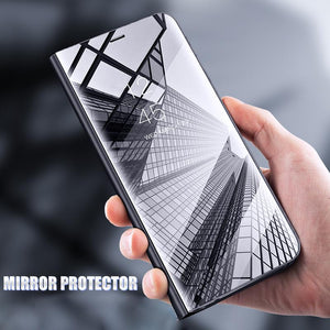 Galaxy  S9 & S9 Plus Mirror Clear View Flip Case [Non Sensor Working]
