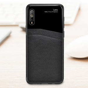 Galaxy A7 2018 Sleek Slim Leather Glass Case
