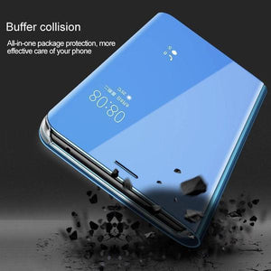 Galaxy A9 2018 (3 in 1 Combo) Mirror Clear Flip Case + Tempered Glass + Earphones [Non Sensor]
