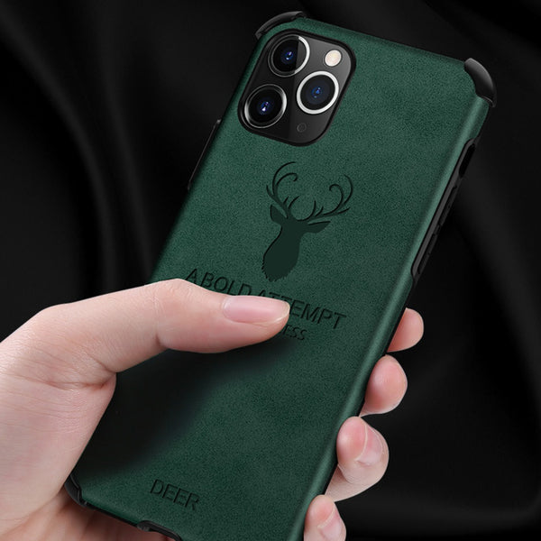 iPhone 11 Pro Max Shockproof Deer Leather Texture Case
