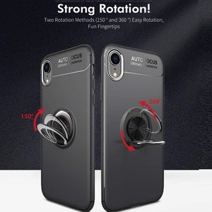 iPhone XR (3 in 1 Combo) Metallic Ring Case + Tempered Glass + Earphones