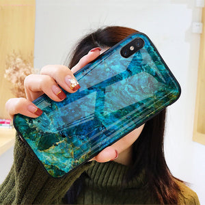 iPhone XS Soothing Sea Pattern Marble Glass Back Case
