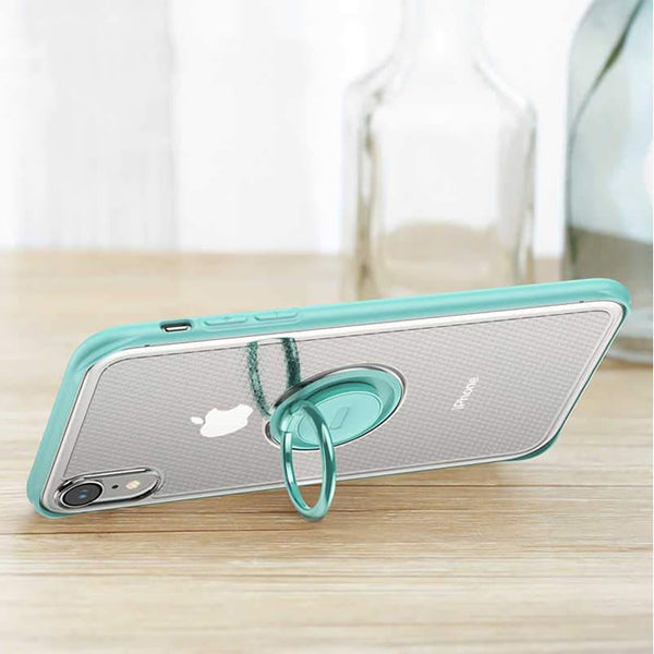Baseus ® iPhone XR Dot Pattern Transparent Ring Holder Case