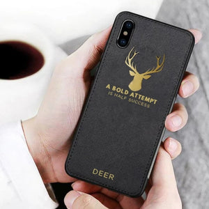 iPhone XR Luxury Gold Textured Deer Pattern Soft Case