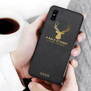 iPhone X Luxury Gold Textured Deer Pattern Soft Case