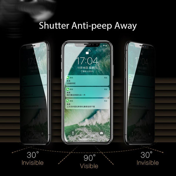 iPhone X Privacy Tempered Glass Screen Protector [Anti-Spy Glass]