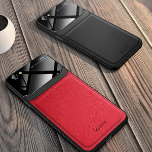 iPhone 8 Sleek Slim Leather Glass Case