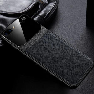 iPhone 8 Plus Sleek Slim Leather Glass Case
