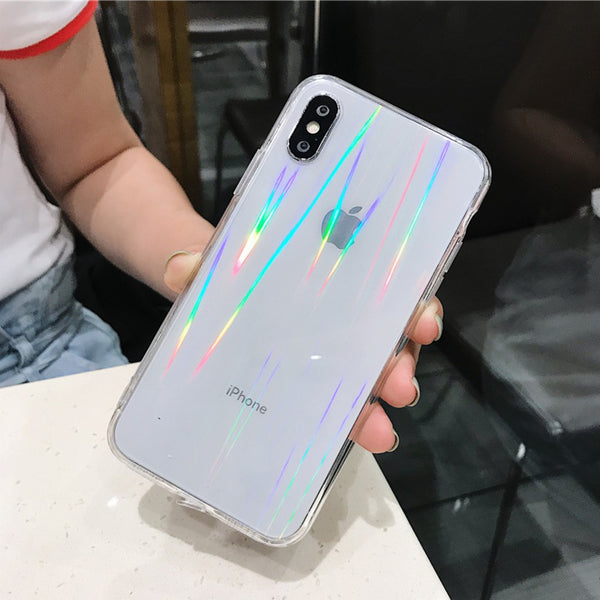 iPhone X Rainbow Effect Hybrid Transparent Case